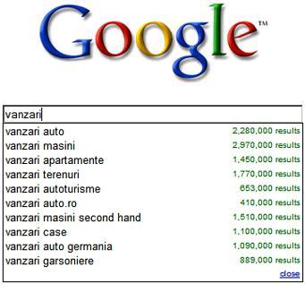 Cautari sugerate Google